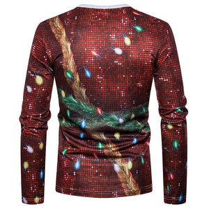 Ugly Christmas Sweater Long Sleeve T-Shirt - Sequin Tux w/lights Christmas Ugly Sweaters Loom Rack