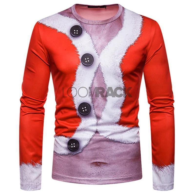 Ugly Christmas Sweater Long Sleeve T-Shirt - Tight Santa Suit Christmas Ugly Sweaters Loom Rack S