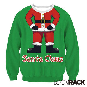 Ugly Christmas Sweater - Santa Suit Pullover Christmas Ugly Sweaters Loom Rack Green S