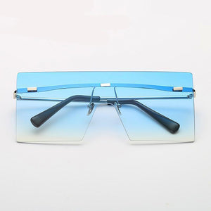 Ultra-edgy Square Flat Sunglasses Sunglasses Loom Rack Blue