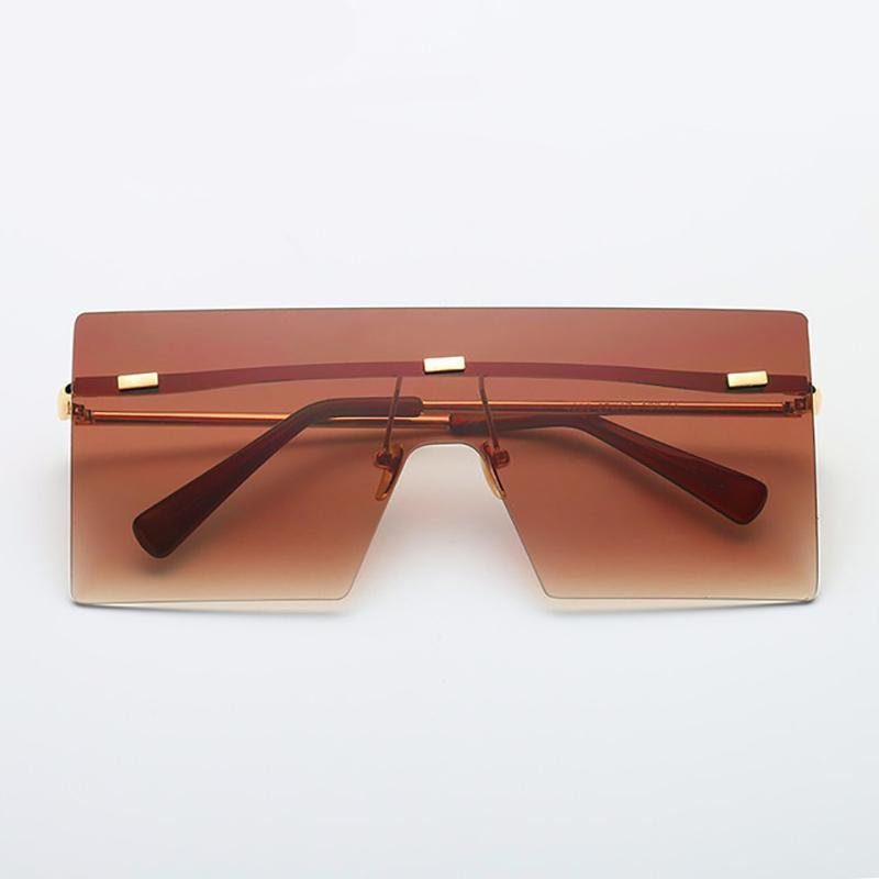 Ultra-edgy Square Flat Sunglasses Sunglasses Loom Rack Brown
