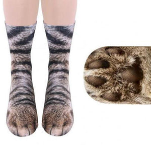 Unisex Adult Animal Paw Crew Socks Cat Socks Loom Rack