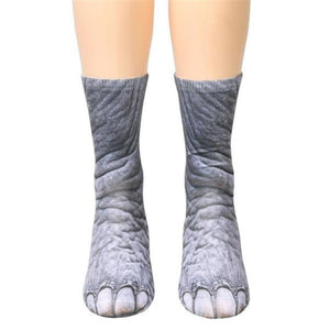 Unisex Adult Animal Paw Crew Socks Elephant Socks Loom Rack Elephant