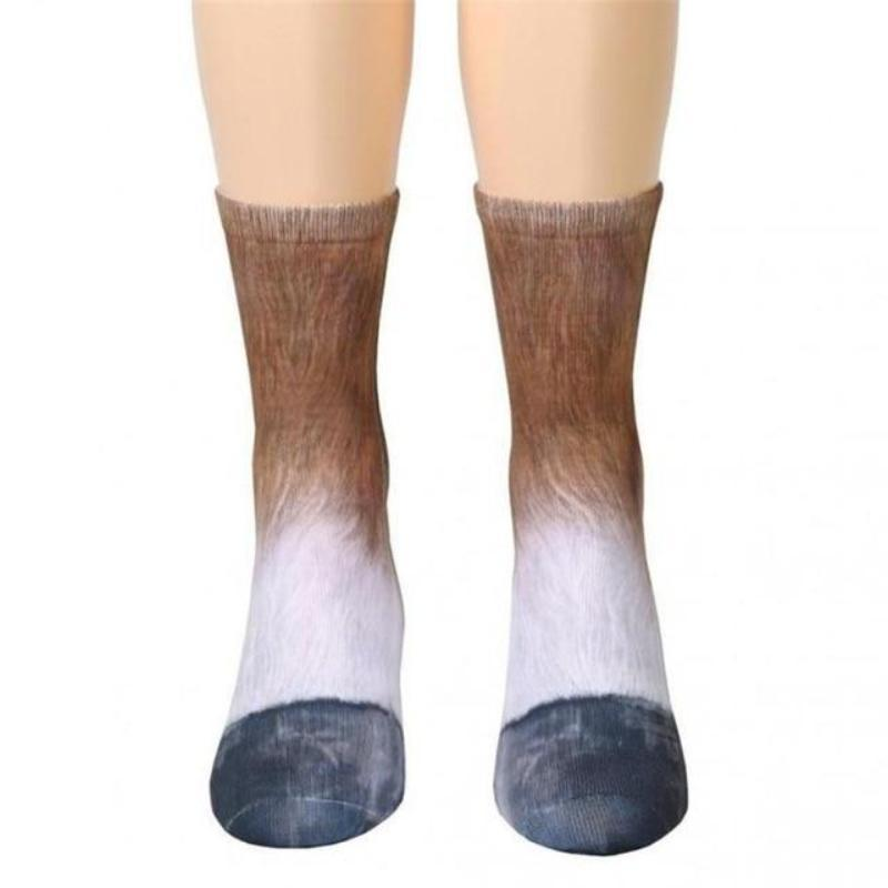 Unisex Adult Animal Paw Crew Socks Horse Socks Loom Rack Horse