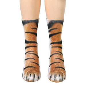 Unisex Adult Animal Paw Crew Socks Tiger Socks Loom Rack Tiger