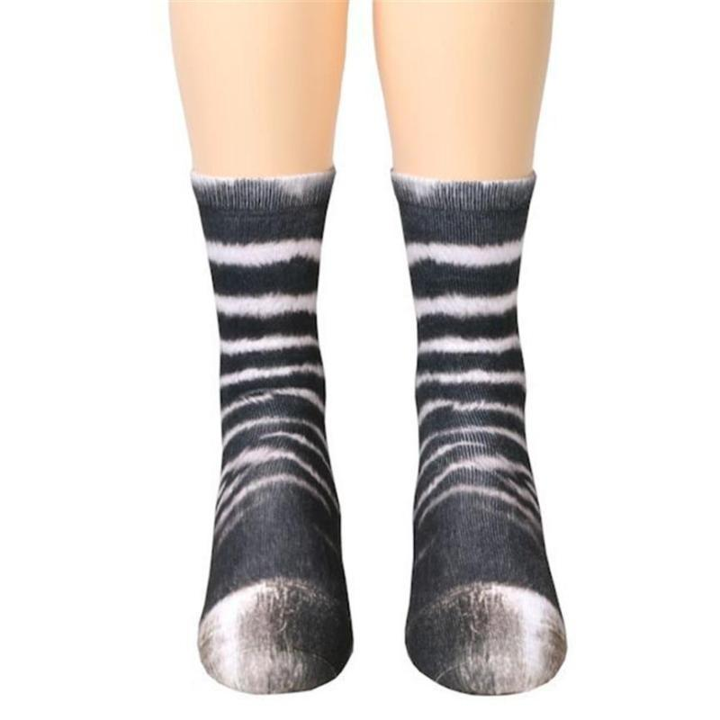 Unisex Adult Animal Paw Crew Socks Zebra Socks Loom Rack Zebra