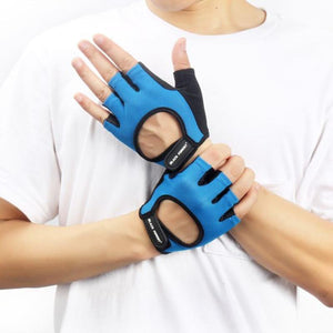 Unisex Mesh Weight Training Gloves Sports Gloves Loom Rack Blue M