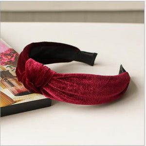 Velvet Knotted Twist Headband Headbands Loom Rack Burgundy