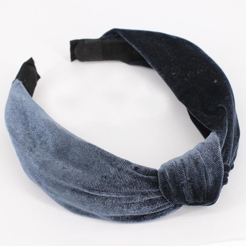 Velvet Knotted Twist Headband Headbands Loom Rack Gray