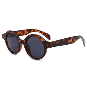 Village Retro Round Thick Frame Sunglasses Sunglasses Loom Rack Leopard