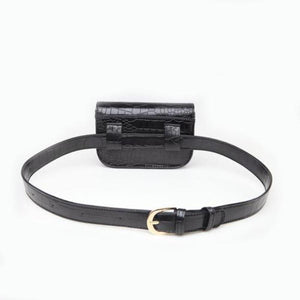 Vintage Alligator PU Leather Belt Fanny Pack Novelty Bags Loom Rack