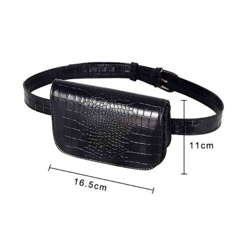 Vintage Alligator PU Leather Belt Fanny Pack Novelty Bags Loom Rack Black