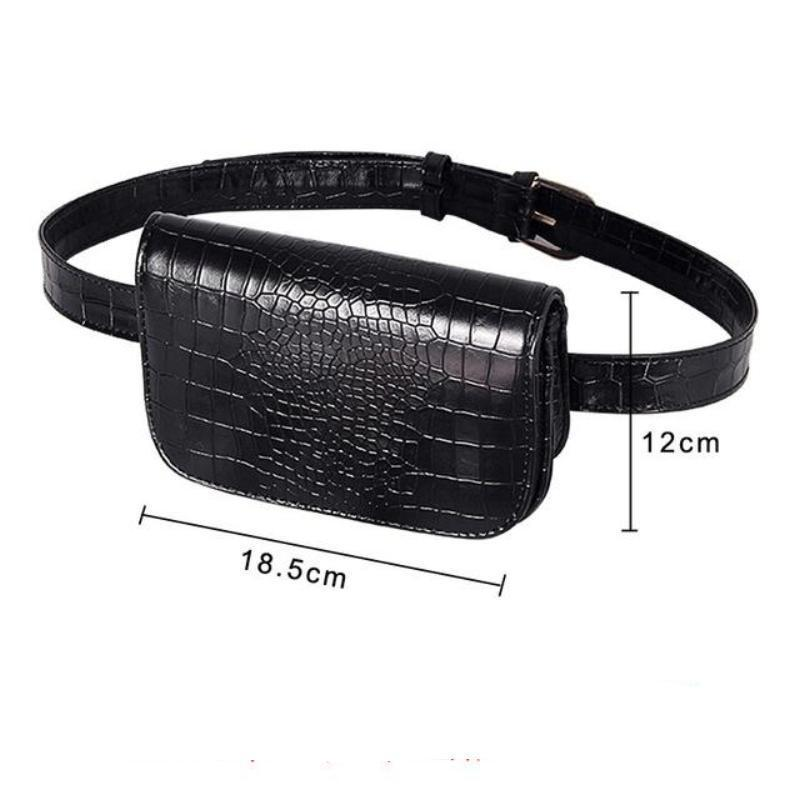 Vintage Alligator PU Leather Belt Fanny Pack Novelty Bags Loom Rack Black Big
