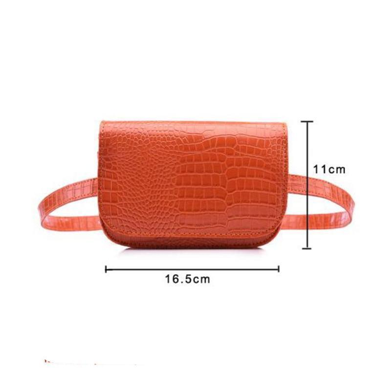 Vintage Alligator PU Leather Belt Fanny Pack Novelty Bags Loom Rack Orange
