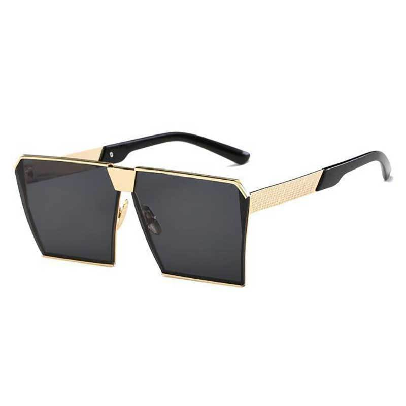 Vintage Oversized Square Mirror Sunglasses Sunglasses Loom Rack Gold Black