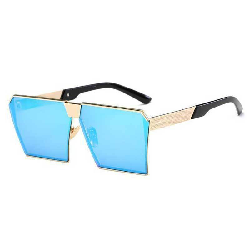 Vintage Oversized Square Mirror Sunglasses Sunglasses Loom Rack Gold Blue