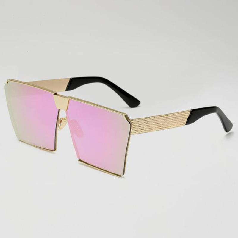 Vintage Oversized Square Mirror Sunglasses Sunglasses Loom Rack Pink Multi