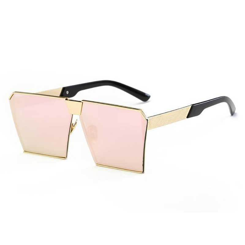 Vintage Oversized Square Mirror Sunglasses Sunglasses Loom Rack Rose Pink