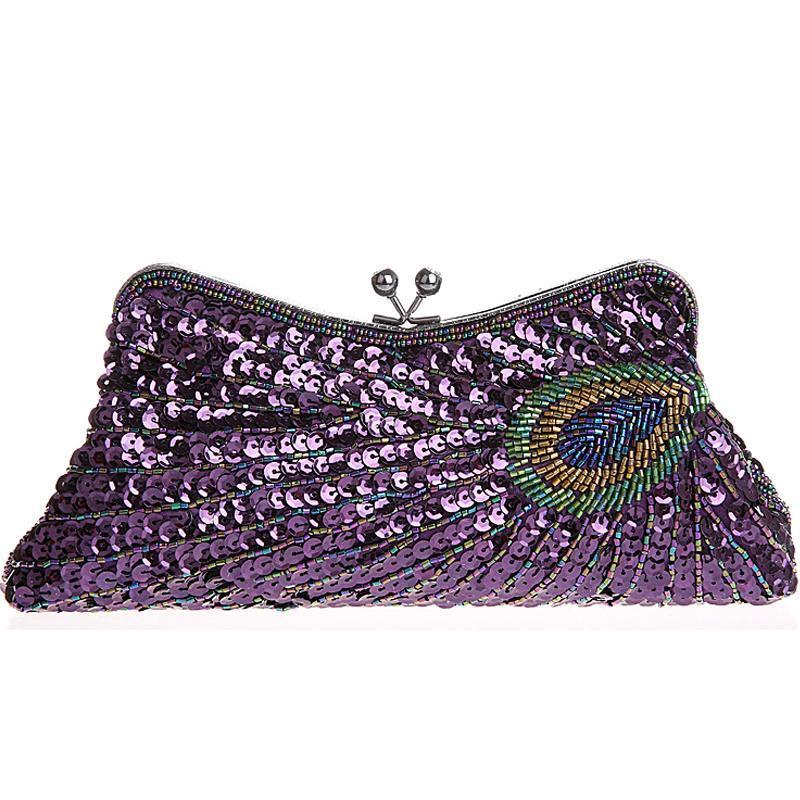 Vintage Peacock Sequin Evening Bag Sequin Bags Loom Rack