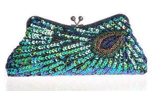 Vintage Peacock Sequin Evening Bag Sequin Bags Loom Rack Blue