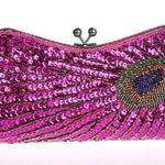 Vintage Peacock Sequin Evening Bag Sequin Bags Loom Rack Hot Pink