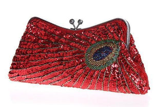 Vintage Peacock Sequin Evening Bag Sequin Bags Loom Rack Red