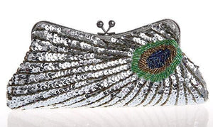 Vintage Peacock Sequin Evening Bag Sequin Bags Loom Rack Silver