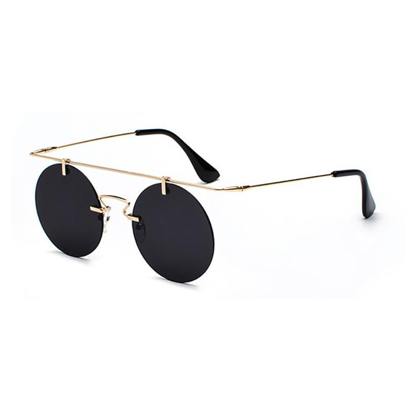 Vintage Punk Rectangular Bridge Rimless Lightweight Sunglasses Sunglasses Golden Black