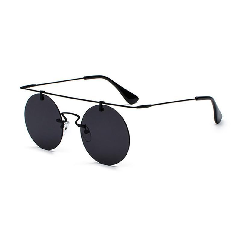 Vintage Punk Rectangular Bridge Rimless Lightweight Sunglasses Sunglasses Loom Rack Black Black