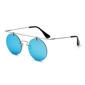 Vintage Punk Rectangular Bridge Rimless Lightweight Sunglasses Sunglasses Loom Rack Blue Mirror