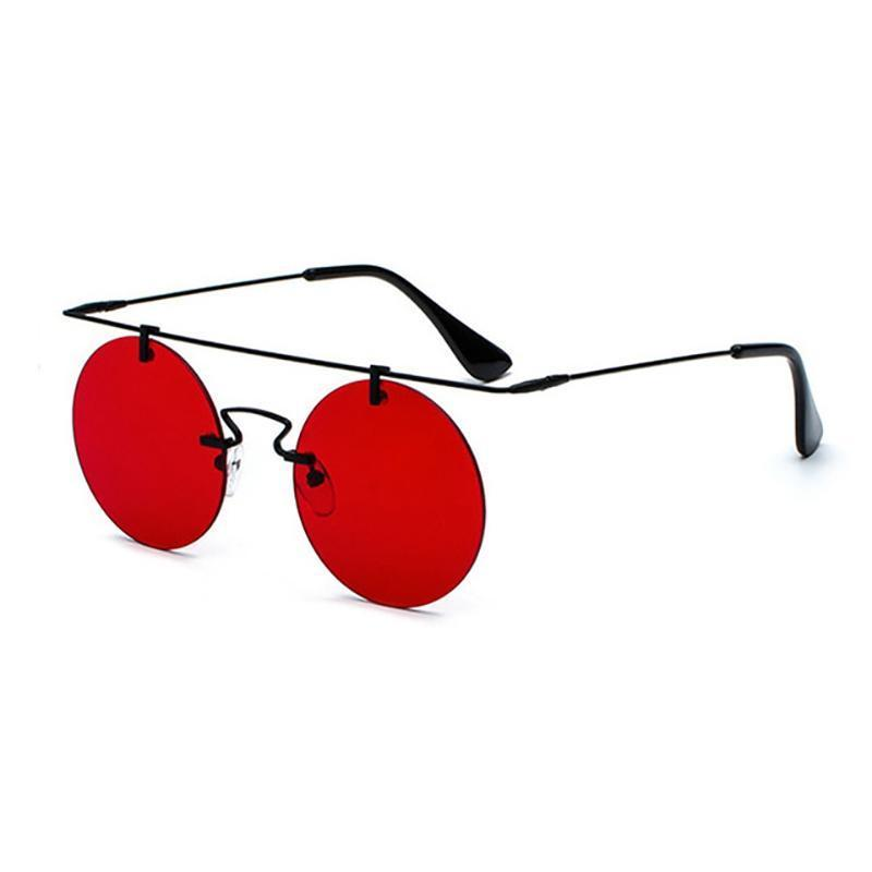 Vintage Punk Rectangular Bridge Rimless Lightweight Sunglasses Sunglasses Loom Rack Clear Red