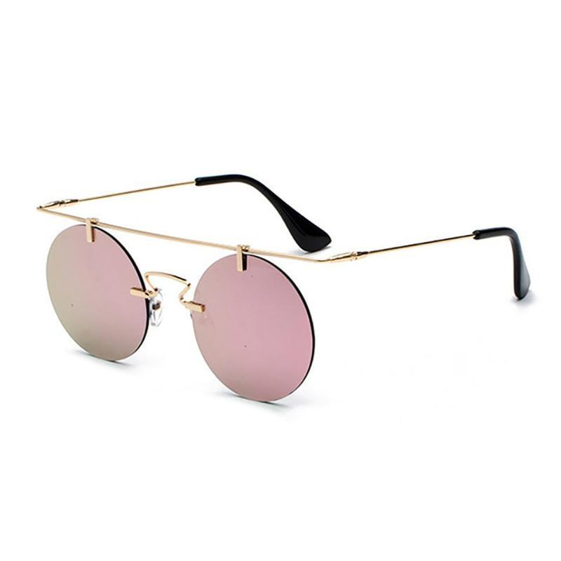 Vintage Punk Rectangular Bridge Rimless Lightweight Sunglasses Sunglasses Loom Rack Pink Mirror