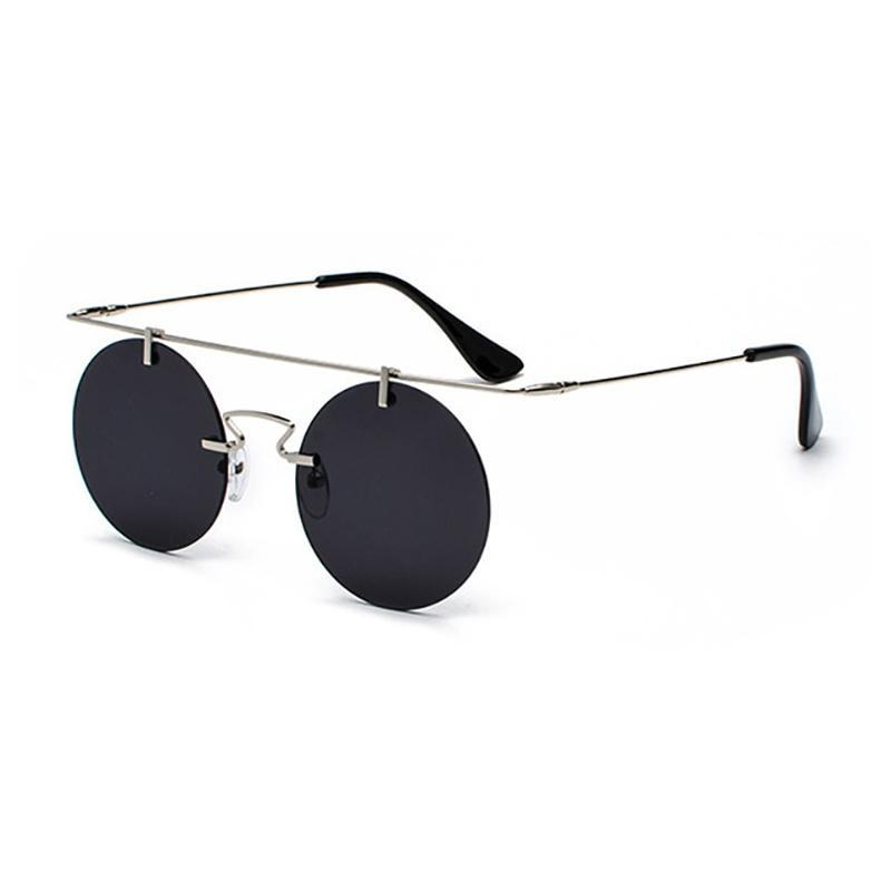 Vintage Punk Rectangular Bridge Rimless Lightweight Sunglasses Sunglasses Silver Black