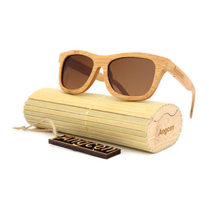 Vintage Style Bamboo Sunglasses Sunglasses Loom Rack Brown