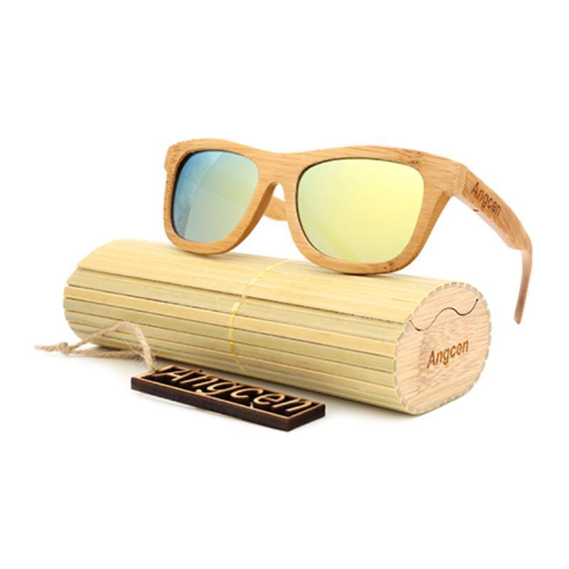 Vintage Style Bamboo Sunglasses Sunglasses Loom Rack Gold