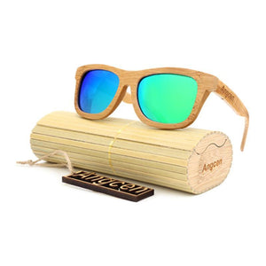 Vintage Style Bamboo Sunglasses Sunglasses Loom Rack Green