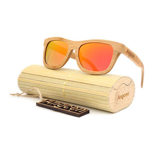 Vintage Style Bamboo Sunglasses Sunglasses Loom Rack Red