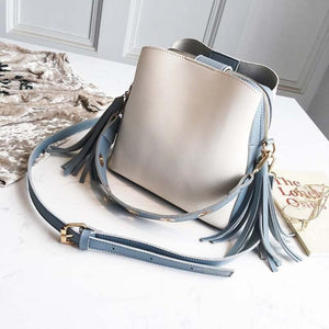 Vintage Tassel Adorned Bucket Crossbody Messenger Bag Shoulder Bags Loom Rack Blue