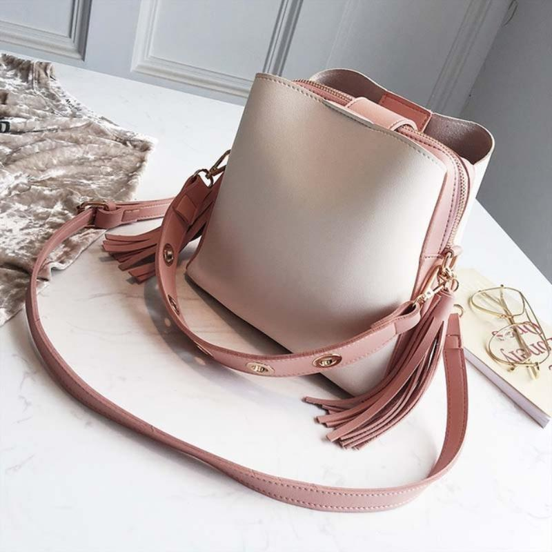 Vintage Tassel Adorned Bucket Crossbody Messenger Bag Shoulder Bags Loom Rack Pink