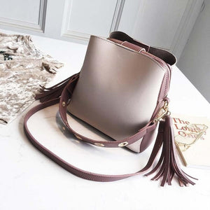 Vintage Tassel Adorned Bucket Crossbody Messenger Bag Shoulder Bags Loom Rack Purple