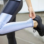 White Striped Mesh Pocket Leggings Leggings Deep Grey / S