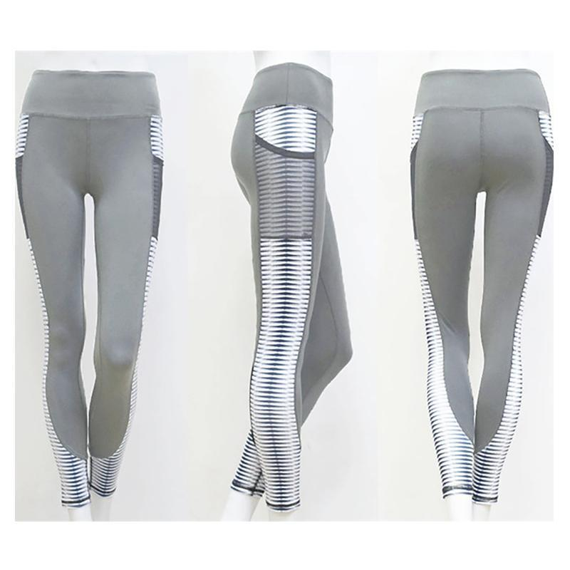 White Striped Mesh Pocket Leggings Leggings Gray / S
