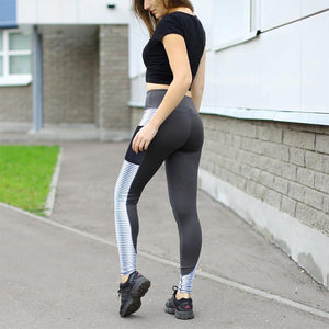 White Striped Mesh Pocket Leggings Leggings Loom Rack