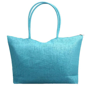 Women's Woven Straw Tote Bag - Perfect for the Beach! Rattan Bags Loom Rack Aquamarine