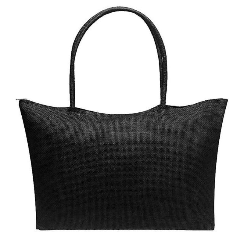 Women's Woven Straw Tote Bag - Perfect for the Beach! Rattan Bags Loom Rack Black