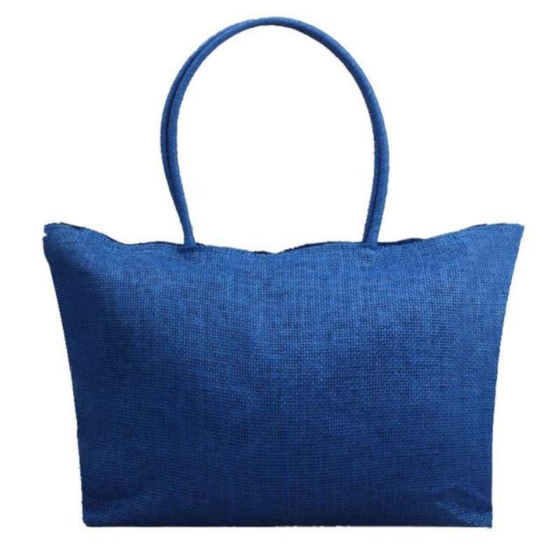 Women's Woven Straw Tote Bag - Perfect for the Beach! Rattan Bags Loom Rack Deep Blue