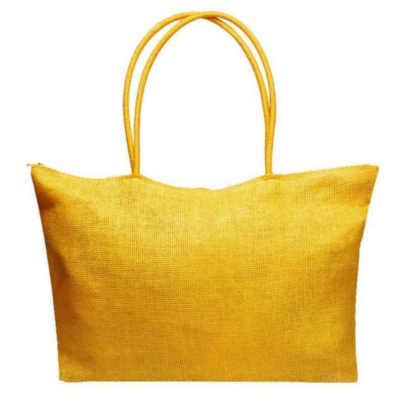 Women's Woven Straw Tote Bag - Perfect for the Beach! Rattan Bags Loom Rack Deep Yellow