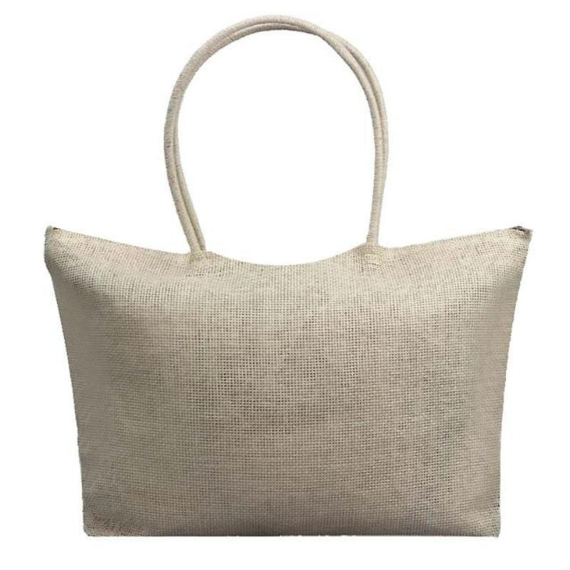 Women's Woven Straw Tote Bag - Perfect for the Beach! Rattan Bags Loom Rack Gray