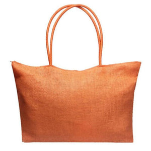 Women's Woven Straw Tote Bag - Perfect for the Beach! Rattan Bags Loom Rack Orange