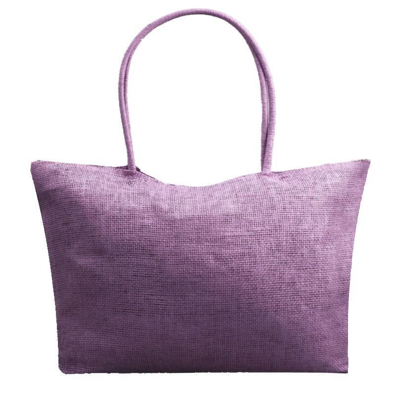 Women's Woven Straw Tote Bag - Perfect for the Beach! Rattan Bags Loom Rack Purple